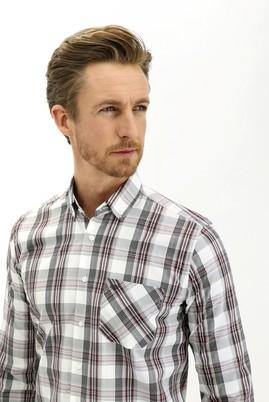 Erkek Giyim - AÇIK KAHVE 3X Beden Uzun Kol Regular Fit Ekose Gömlek