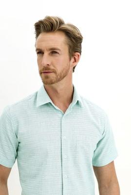 Erkek Giyim - ORTA TURKUAZ L Beden Kısa Kol Regular Fit Desenli Spor Gömlek