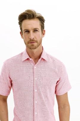 Erkek Giyim - AÇIK KIRMIZI L Beden Kısa Kol Regular Fit Desenli Spor Gömlek
