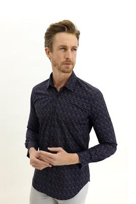 Erkek Giyim - KOYU LACİVERT L Beden Uzun Kol Slim Fit Desenli Gömlek