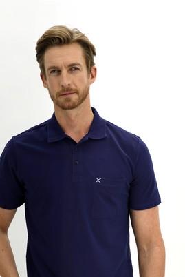 Erkek Giyim - SAKS MAVİ 3X Beden Polo Yaka Regular Fit Tişört