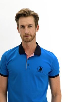 Erkek Giyim - KOYU MAVİ L Beden Polo Yaka Slim Fit Desenli Tişört
