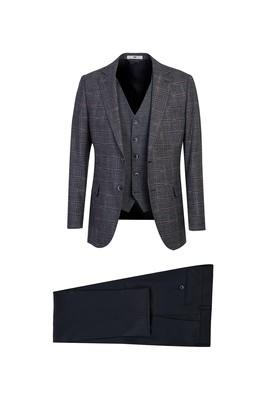 Erkek Giyim - ORTA LACİVERT 56 Beden Regular Fit Yelekli Kombinli Kareli Takım Elbise