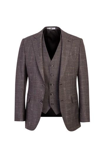 Erkek Giyim - Regular Fit Yelekli Kombinli Kareli Takım Elbise