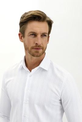 Erkek Giyim - AÇIK MAVİ L Beden Uzun Kol Çizgili Slim Fit Gömlek
