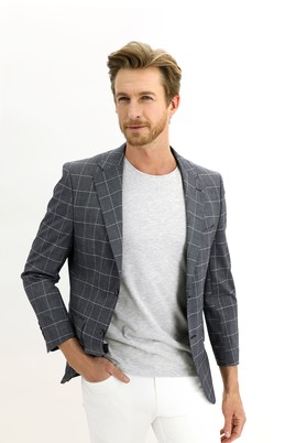 Erkek Giyim - SİYAH 52 Beden Regular Fit Kareli Ceket