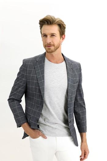 Erkek Giyim - Regular Fit Kareli Ceket
