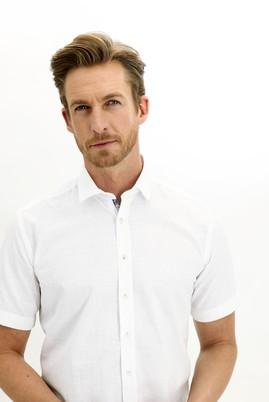 Erkek Giyim - BEYAZ 4X Beden Kısa Kol Regular Fit Desenli Gömlek