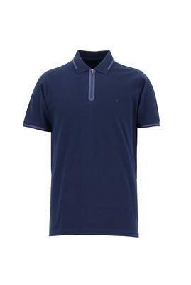 Erkek Giyim - KOYU LACİVERT 3X Beden Polo Yaka Regular Fit Desenli Tişört