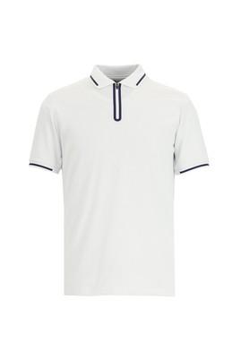 Erkek Giyim - BEYAZ 3X Beden Polo Yaka Regular Fit Desenli Tişört