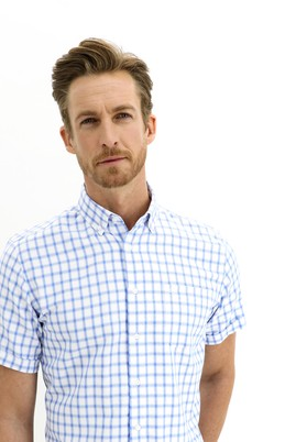 Erkek Giyim - AÇIK MAVİ 3X Beden Kısa Kol Ekose Regular Fit Gömlek