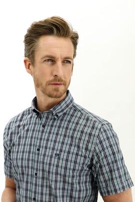 Erkek Giyim - KOYU YEŞİL 3X Beden Kısa Kol Regular Fit Ekose Gömlek
