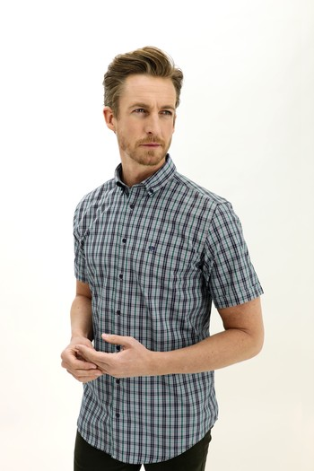 Erkek Giyim - Kısa Kol Ekose Regular Fit Gömlek