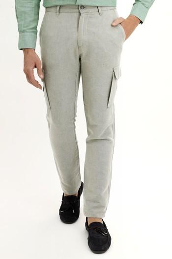 Erkek Giyim - Slim Fit Keten Pantolon