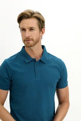 Erkek Giyim - KOYU PETROL 3X Beden Polo Yaka Slim Fit Tişört