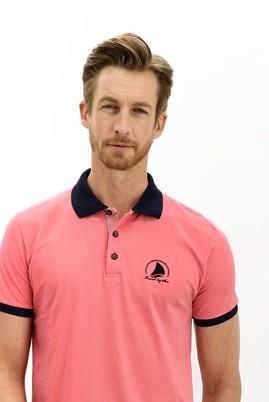 Erkek Giyim - FUŞYA 3X Beden Polo Yaka Slim Fit Desenli Tişört