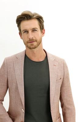 Erkek Giyim - ORTA KAHVE 52 Beden Regular Fit Desenli Ceket