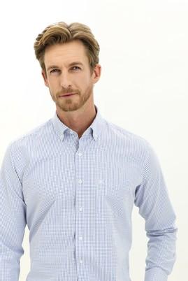 Erkek Giyim - GÖK MAVİSİ 3X Beden Uzun Kol Regular Fit Kareli Gömlek