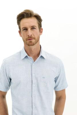 Erkek Giyim - KOYU TURKUAZ 3X Beden Kısa Kol Regular Fit Desenli Spor Gömlek