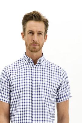 Erkek Giyim - KOYU LACİVERT 3X Beden Kısa Kol Ekose Regular Fit Gömlek