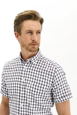 Erkek Giyim - AÇIK BORDO 3X Beden Kısa Kol Ekose Regular Fit Gömlek