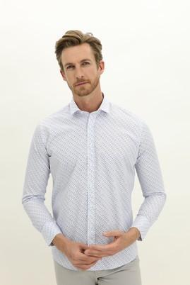 Erkek Giyim - BEYAZ XS Beden Uzun Kol Küçük Yaka Slim Fit Desenli Pamuk Gömlek