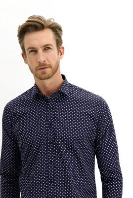 Erkek Giyim - LACİVERT S Beden Uzun Kol Küçük Yaka Slim Fit Desenli Pamuk Gömlek