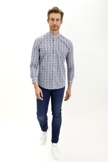 Erkek Giyim - Uzun Kol Hakim Yaka Slim Fit Desenli Pamuk Gömlek