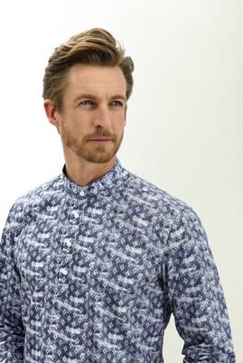 Erkek Giyim - LACİVERT XS Beden Uzun Kol Regular Fit Hakim Yaka Yarım Pat Desenli Pamuk Gömlek