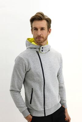 Erkek Giyim - AÇIK GRİ M Beden Kapüşonlu Asimetrik Sweatshirt