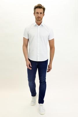 Erkek Giyim - BEYAZ XXL Beden Kısa Kol Desenli Slim Fit Gömlek