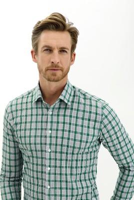 Erkek Giyim - ÇİMEN YEŞİLİ L Beden Uzun Kol Slim Fit Ekose Gömlek