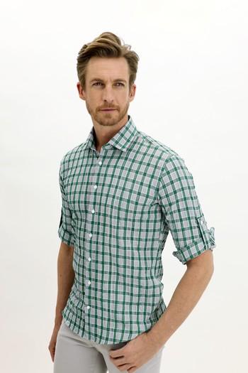 Erkek Giyim - Uzun Kol Slim Fit Ekose Gömlek