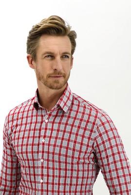 Erkek Giyim - BAYRAK KIRMIZI L Beden Uzun Kol Slim Fit Ekose Gömlek