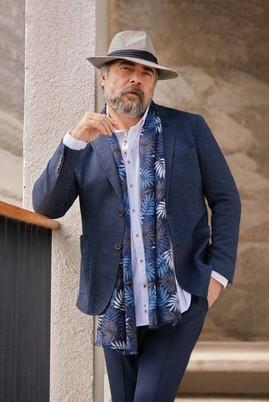 Erkek Giyim - AÇIK LACİVERT 46 Beden Slim Fit Kuşgözü Ceket