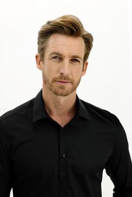 Erkek Giyim - SİYAH XL Beden Uzun Kol Slim Fit Non Iron Gömlek