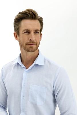 Erkek Giyim - AÇIK MAVİ 3X Beden Uzun Kol Keten Relax Fit Gömlek