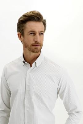 Erkek Giyim - AÇIK KAHVE 3X Beden Uzun Kol Regular Fit Kareli Gömlek
