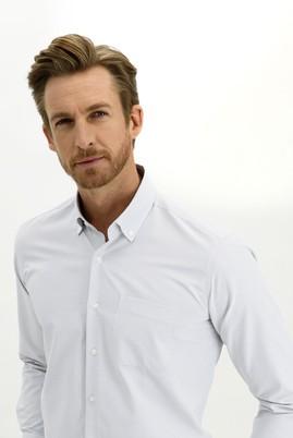 Erkek Giyim - BEYAZ 3X Beden Uzun Kol Regular Fit Desenli Gömlek