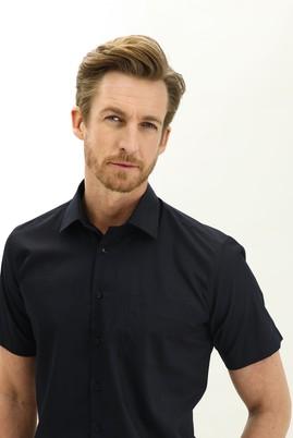 Erkek Giyim - AÇIK SİYAH 4X Beden Kısa Kol Regular Fit Gömlek