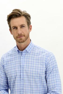 Erkek Giyim - GÖK MAVİSİ XXL Beden Uzun Kol Regular Fit Ekose Spor Gömlek