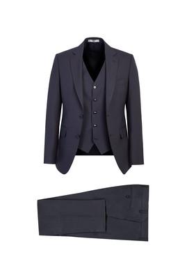 Erkek Giyim - KOYU FÜME 56 Beden Slim Fit Yünlü Yelekli Takım Elbise