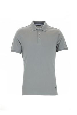 Erkek Giyim - ORTA GRİ 3X Beden Polo Yaka Slim Fit Tişört