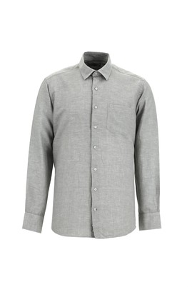 Erkek Giyim - ORTA GRİ 3X Beden Uzun Kol Keten Relax Fit Gömlek