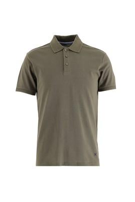 Erkek Giyim - ORTA HAKİ 3X Beden Polo Yaka Slim Fit Tişört