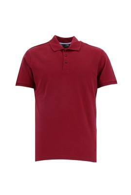 Erkek Giyim - KOYU KIRMIZI 3X Beden Polo Yaka Slim Fit Tişört