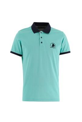 Erkek Giyim - MİNT YEŞİLİ XXL Beden Polo Yaka Slim Fit Desenli Tişört
