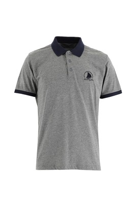 Erkek Giyim - ORTA GRİ 3X Beden Polo Yaka Slim Fit Desenli Tişört