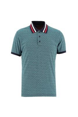 Erkek Giyim - ORTA LACİVERT 3X Beden Polo Yaka Slim Fit Desenli Tişört