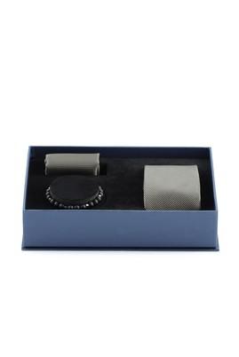Erkek Giyim - AÇIK SİYAH  Beden 3'lü Kravat Mendil Bileklik Set